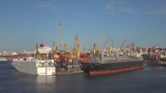 Commercial ships moored in Montevideo harbor, Uruguay Stock Footage