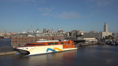 Buquebus Catamaran, Montevideo port skyline, Uruguay Stock Footage