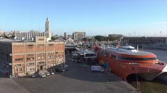 Port Building and buquebus catamaran, Montevideo port skyline Stock Footage