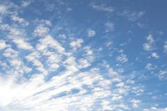 Summer sky with small Altocumulus clouds and bright sunrays sunbeams Stock Photos
