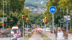 Rush of day time traffic on road timelapse in  barcelona, spain Stock Footage
