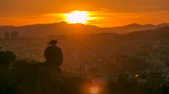 Sunset timelapse. View of the city from Montjuic. Montjuic is one of the most Stock Footage