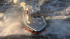 Pilot boat, arrives to collect pilot from ship, Montevideo, Uruguay Stock Footage