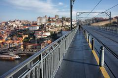 Porto Old City View From Dom Luis I Bridge - stock photo