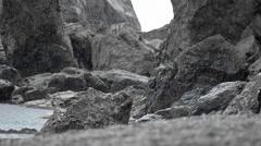 Summer Rainy Beach Rock Stock Footage
