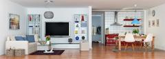 3d - luxury modern loft apartment - panorama - stock illustration
