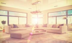 3d - luxury modern loft apartment - retro style - stock illustration