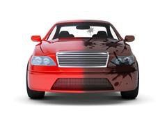 Red car with dirty side - stock illustration