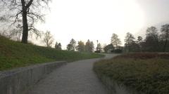 Parents and strollers in Tivoli Park in Ljubljana Stock Footage