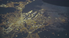 Night city from the sky Stock Footage