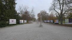 Promenade alley in Tivoli Park in Ljubljana Stock Footage