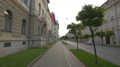 Sidewalk by the Government Building and President's Office in Ljubljana - stock footage