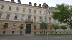 Presidential Palace on Presernova street in Ljubljana Stock Footage