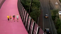 Bright pink cycleway at dusk in Auckland New Zealand Stock Footage