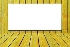 blank billboard for advertisement on yellow wooden wall - stock photo