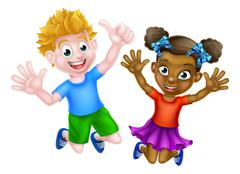Happy Cartoon Kids Jumping - stock illustration
