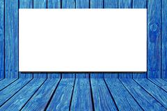 blank billboard for advertisement on blue wooden wall - stock photo