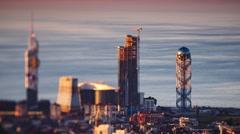 Sunset timelapse Batumi cityscape zoom out Stock Footage