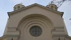 The pediment above the entrance to the orthodox church in Ljubljana Stock Footage