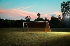 Empty goal on soccer pitch Stock Photos
