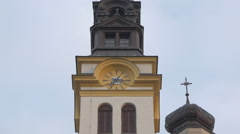 Stock Video Footage of Clock tower and steeple in Ljubljana