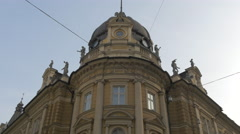 The dome of the Central Postal Office building in Ljubljana Stock Footage