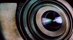Camera lens and light reflection in optics - transition, loop  - stock footage