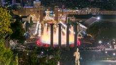 Night view of Magic Fountain light show timelapse in Barcelona, Catalonia, Spain Stock Footage