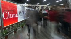 Understanding China, metro passengers, time lapse rush hour Shanghai - stock footage