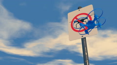 "UAV drone reacting to a ""no Drone Zone"" graphic sign Stock Footage"