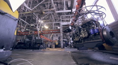 Car engine in Modern plant, industrial factory inside Stock Footage