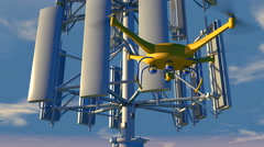 UAV drone inspecting a cellular communications array Stock Footage