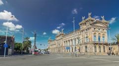 Edifici De La Duana in the port of Barcelona timelapse hyperlapse, Spain Stock Footage