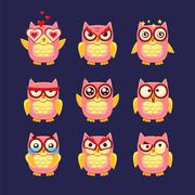 Pink Owl Emoji Collection Stock Illustration