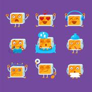 Small Robot Emoji Set Stock Illustration