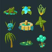Landscape Elements Set - stock illustration