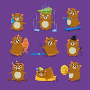 Brown Bear Different Emotions Set - stock illustration