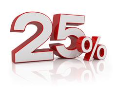 25 percent - red - stock illustration