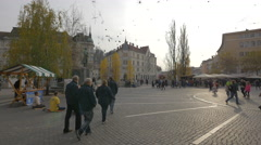 Preseren square with people, Ljubljana Stock Footage