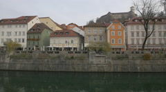 Old city center seen from the other side of the river in Ljubljana Stock Footage
