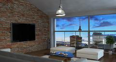 Interior of living room - stock illustration