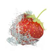 Strawberry splash - stock illustration