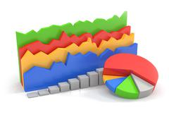 3D Pie- Bar- Area- Chart Stock Illustration