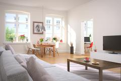 apartment - living room - dining area - stock illustration