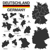 German map with regional boarders - federal states - high details Stock Illustration