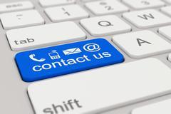 keyboard - contact us - blue - stock illustration