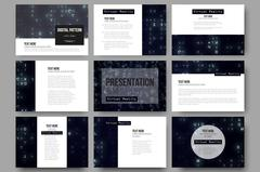 Set of 9 templates for presentation slides. Virtual reality, abstract technology Piirros
