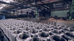 Metal product on a idustrial warehouse Stock Footage