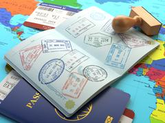 Travel or turism concept. Opened passport with visa stamps with airline board - stock illustration