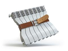 Heating radiator with belt. House energy  efficiency  heat and energy saving Stock Illustration